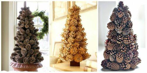 новогодняя елка из шишек на конусе