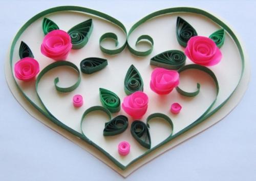 валентинка в технике квиллинг