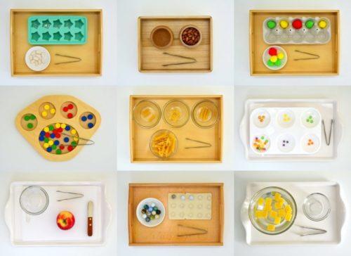 игра с мелкими предметами и пинцетом